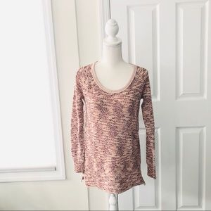 Free People We the Free Pink Boston Melange Top L